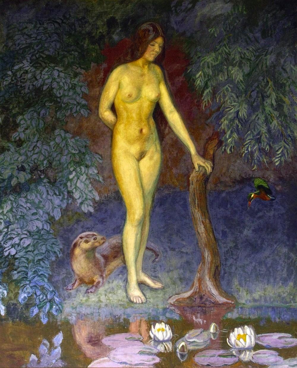 Johannes Larsen: Aaen, 1923 (Johannes Larsen Museet). Malet som illustration til digtet »Skabningens Tinde« af Johannes V. Jensen