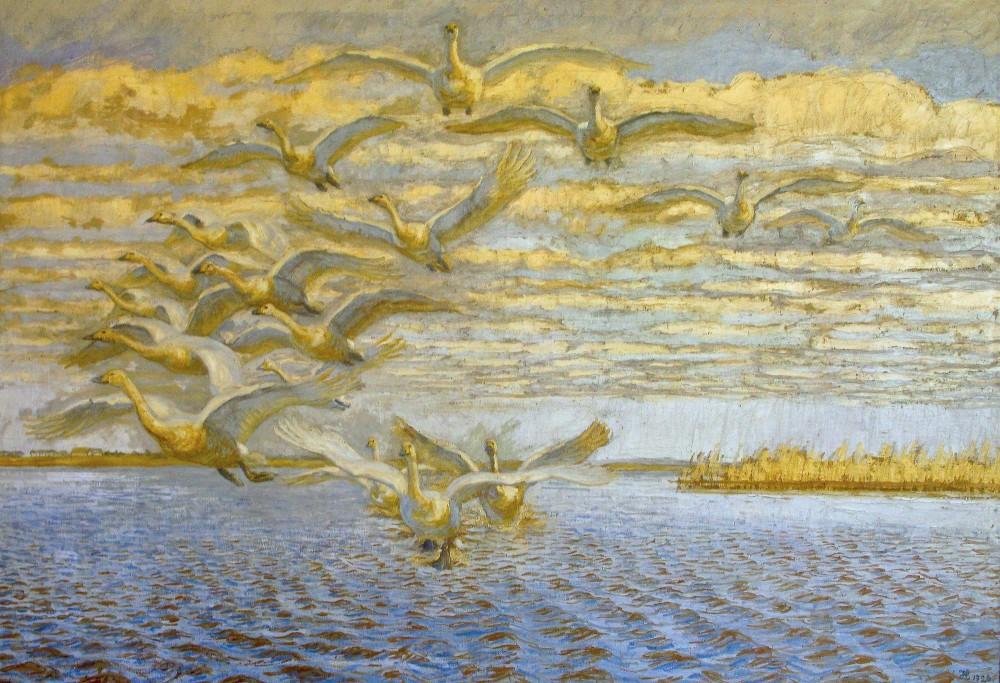 Johannes Larsen: Sangsvanerne letter, 1926. Motivet er fra Filsø (Johannes Larsen Museet)