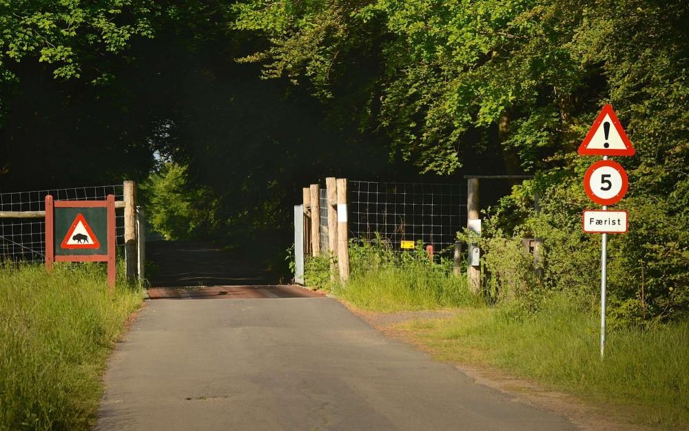 Etableret færist ved indkørsel til Bisonskoven på Bornholm