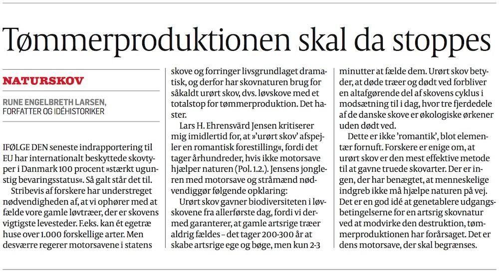 Debatindlæg af Rune Engelbreth Larsen: »Derfor skal statens tømmerproduktion standses« (Politiken, 7.2.2016)