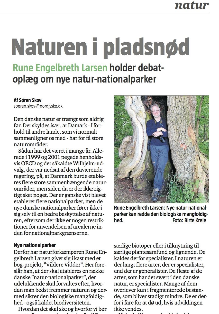 Nordjyske Stifststidende –Søren Skov interviewer Rune Engelbreth Laren om naturnationalparker og naturfilmfestival