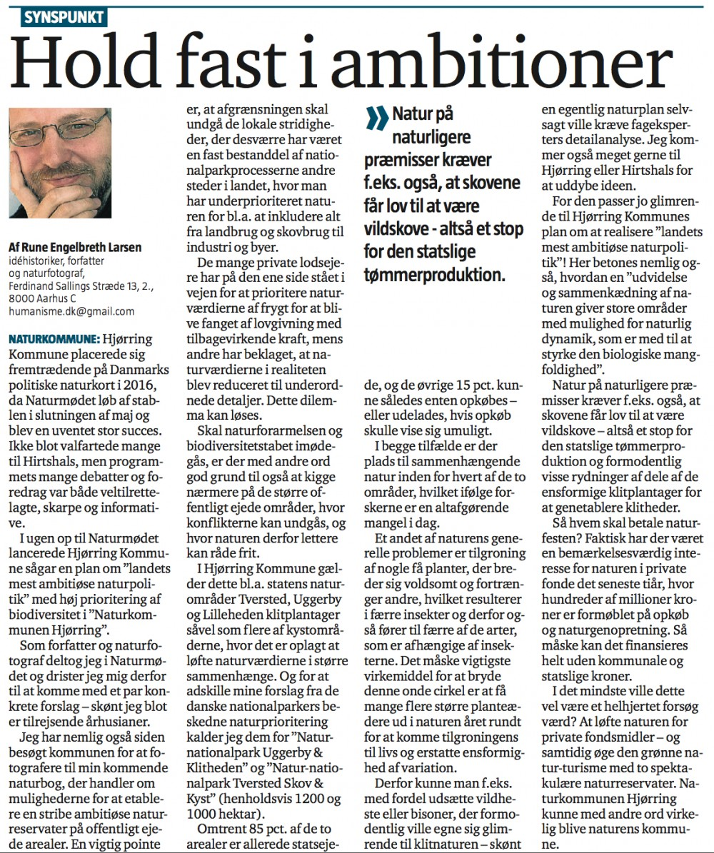 Debatindlæg i Nordjyske Stiftstidende, 26.12.2016