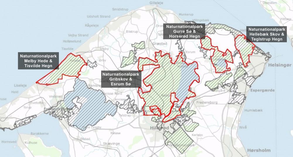 Nationalpark Kongernes Nordsjælland (skraverede arealer) rummer mulighed for fire NATURnationalparker med vildere natur, der kan fungere som nationalparkens kerneområder på naturens præmisser