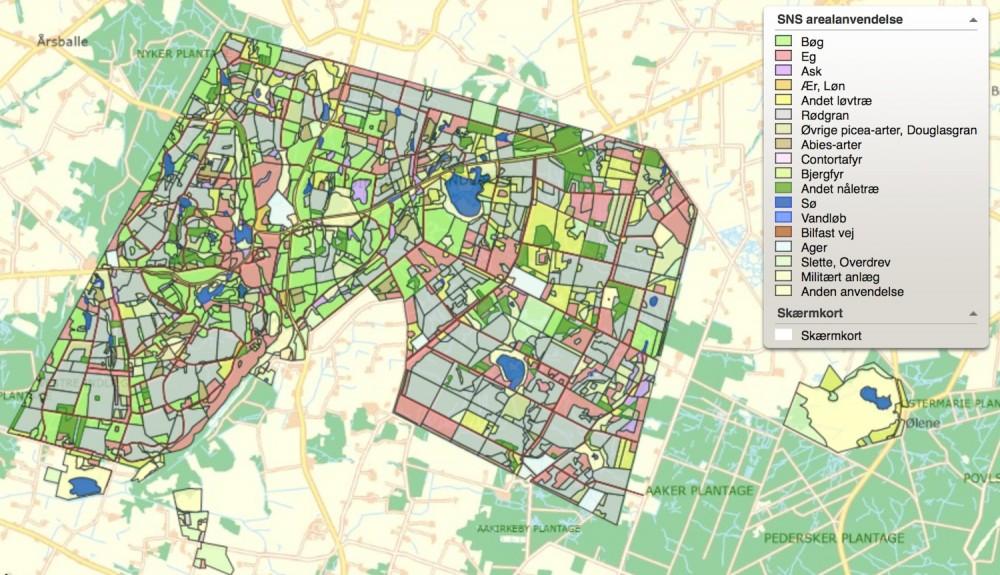 Kort over arealanvendelsen giver et overblik over skovens sammensætning. Store arealer er beplantet med rødgran, der ifølge Naturstyrelsen vil blive erstattet med ca. 500 hektar blandingsløvskov frem til 2030