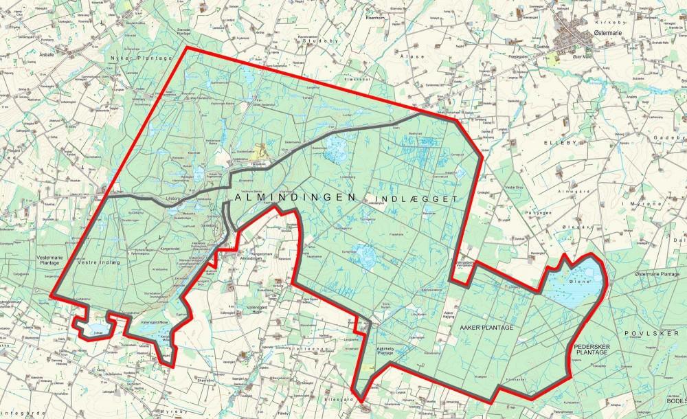 Forslag til en ydre hegnslinje på ca. 37 kilometer, hvor den sydligeste (og største) del af Naturnationalpark Almindingen hegnes for at udsætte flere fritgående planteædere
