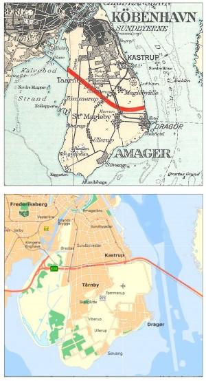 Amager før og efter inddæmningen, der i 1943 gav 20 kvadratkilometer ekstra land, som siden er blevet til spændende natur (Naturstyrelsen)