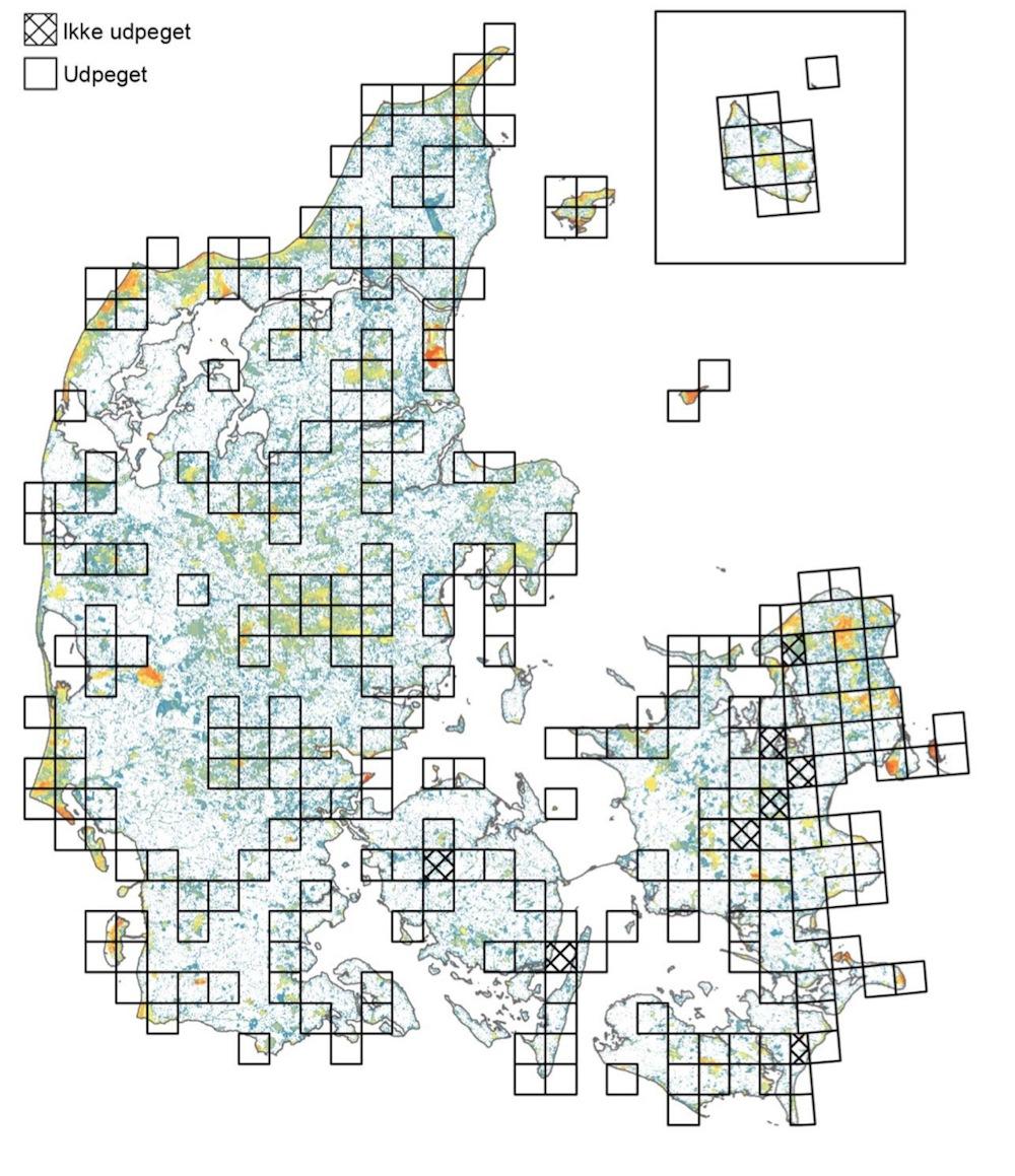 I rapporten bag Biodiversitetskortet fremlægger forskere et såkaldt 50 procents-scenario for, hvor i landet naturindsatsen skal prioriteres højest, hvis biodiversiteten skal bevares. Resultatet er et minimumsmål på 3.600 kvadratkilometer naturarealer inden for de udvalgte 10x10-kilometers kvadrater, der er indtegnet på kortet her (Ejrnæs, R. m.fl.: Biodiversitetskort for Danmark; Center for Makroøkologi, Evolution og Klima, KU, og Institut for Bioscience, AU, 2014)