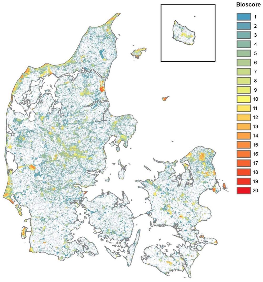 Biodiversitetskortet viser tydeligt, hvor marginalt artsrigdommen er repræsenteret i Danmark – og hvor den ikke er. Skal vi standse biodiversitetstabet, skal vi tage udgangspunkt i områder med høj naturværdi og dermed i reglen også stor artsrigdom (Ejrnæs, R. m.fl.: Biodiversitetskort for Danmark; Center for Makroøkologi, Evolution og Klima, KU, og Institut for Bioscience, AU, 2014)
