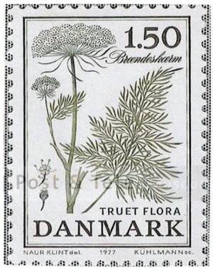Frimærkeserie om »truet flora«, her med afbildning af brændeskærm, der i dag kun findes på Amager