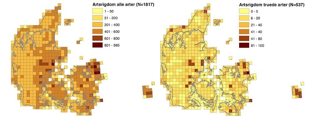 Fordeling af Danmarks artsrigdom (Biodiversitetskort for Danmark)