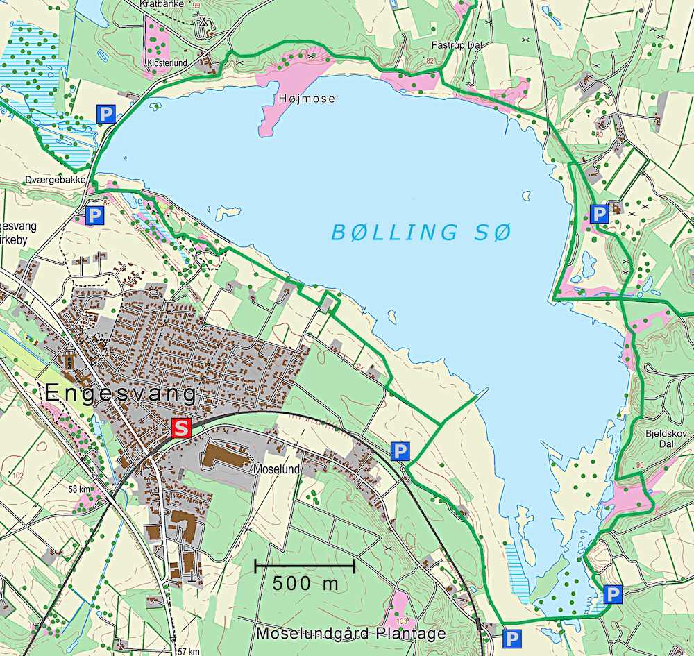 Kort over Bølling Sø (indeholder data fra Geodatastyrelsen, Matrikelkortet, WMS-tjeneste)