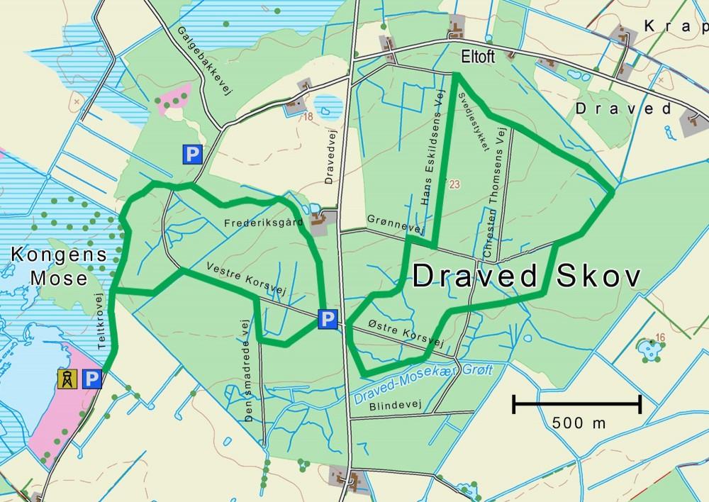 Kort over Draved Skov (indeholder data fra Geodatastyrelsen, Matrikelkortet, WMS-tjeneste)