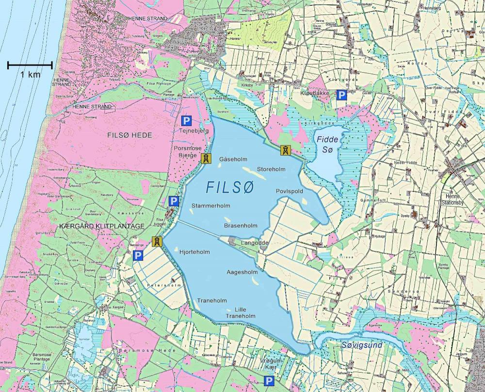 Kort over Filsø (indeholder data fra Geodatastyrelsen, Matrikelkortet, WMS-tjeneste)