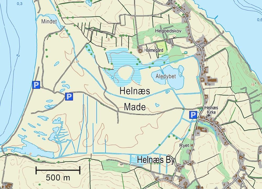 Kort over Helnæs Made (indeholder data fra Geodatastyrelsen, Matrikelkortet, WMS-tjeneste)