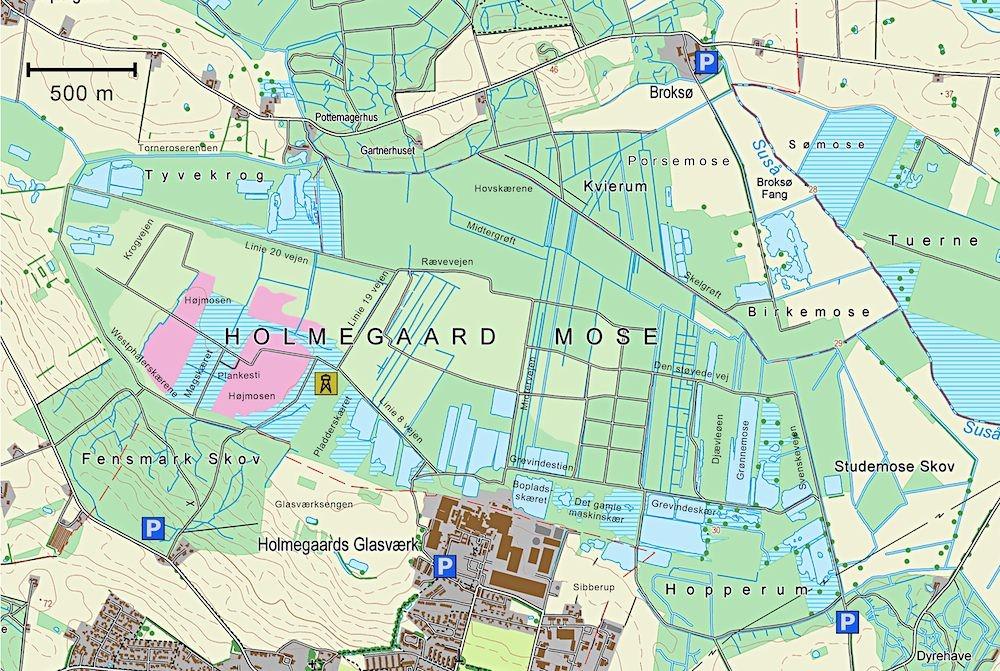 Kort over Holmegaard Mose