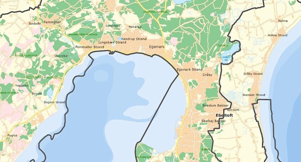 Et udsnit af Nationalpark Mols Bjerge - tætbelagt med byområder omkring Ebeltoft (Naturstyrelsen)