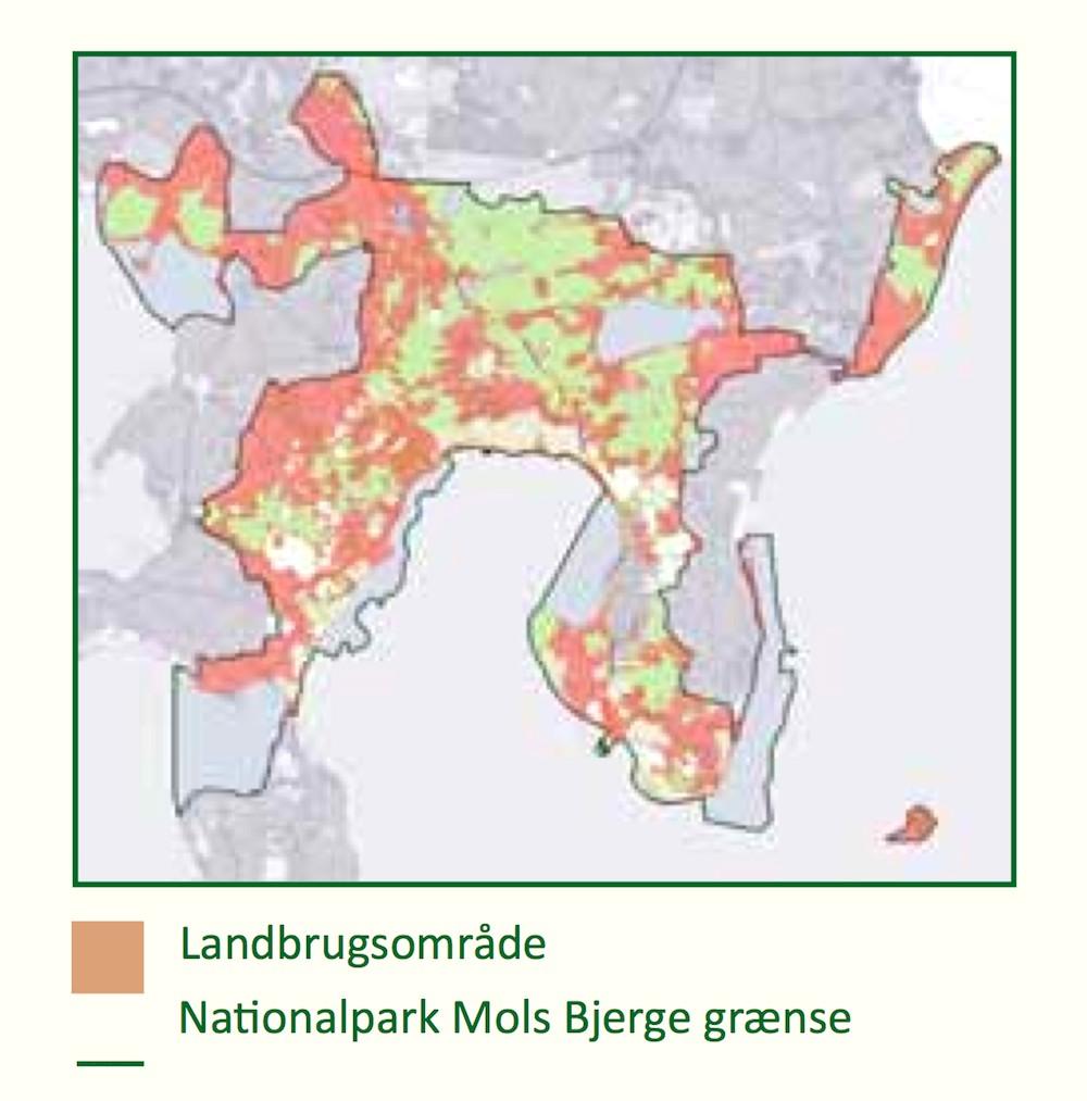 Fordeling af landbrugsarealer i Nationalpark Mols Bjerge