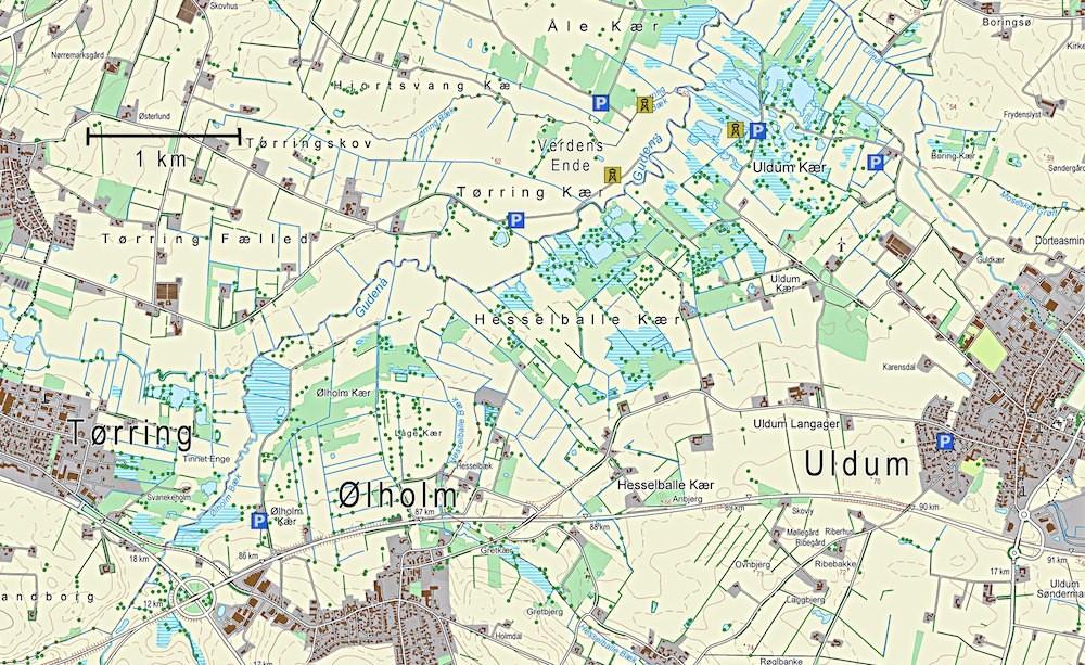 Kort over Uldum Kær (indeholder data fra Geodatastyrelsen, Matrikelkortet, WMS-tjeneste)