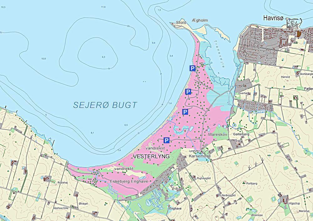 Kort over Eskebjerg Vesterlyng (indeholder data fra Geodatastyrelsen, Matrikelkortet, WMS-tjeneste)
