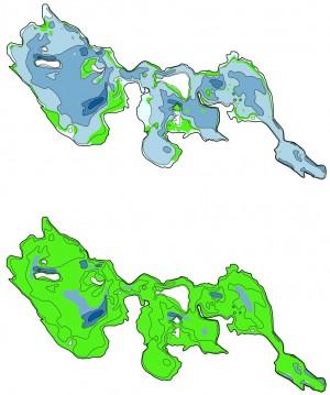 Udbredelsen af bundvegetation (grøn) i Maribo Søndersø i 1998 (øverst) og 2003 efter årelang biomanipulation (opfiskning af fredfisk, især brasen og skalle, og udsætning af rovfisk: geddeyngel). Også i Haderslev Dam er anvendt biomanipulation, men ikke med samme årelange vedholdenhed eller resultat som i Maribo Søndersø (kort: Liboriussen m.fl. 2007b: 'Sørestaurering i Danmark. Del I: Tværgående analyser', Faglig rapport fra DMU nr. 636)