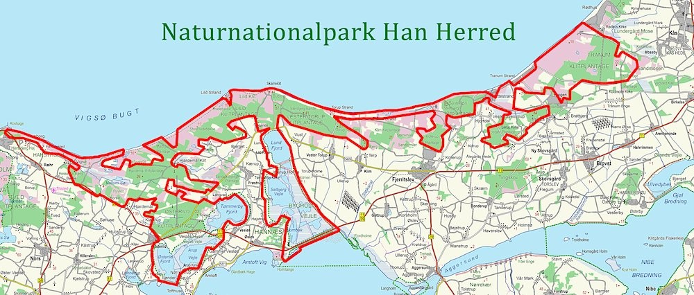 Naturnationalpark Han Herred, ca. 250 kvadratkilometer, stort set bestående af statsarealer og Aage V. Jensen Naturfonds arealer
