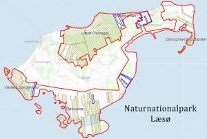 Statsejede arealer på Læsø (Naturstyrelsen) plus de arealer, der indtil 2010 var ejet af Københavns Universitet (med blåt)