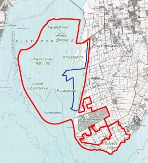 Dette kort viser hvor den oprindelige kystlinje gik, før inddæmningen af Vestamager. Hvor der i dag er søer, græsland og strandenge var der oprindelig hav, men Koklapperne og Nordre Klapper var øer, holme og kystlinje over havets overflade (rød linje markerer den foreslåede afgrænsning af Naturnationalpark Amager, den blå linje markerer det foreslåede område til tamheste). Botanikken har lang kontinuitet netop dér, hvor der har været kystlinje og øer – og derfor bør disse arealer være en del af det område, hvor vi fremadrettet kunne tilstræbe vildere natur på naturligere præmisser med helårsgræsning.