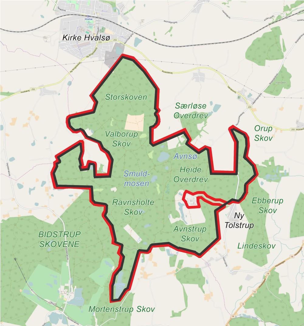 Forslag til en 27 kilometer lang hegnslinje omkring Naturnationalpark Bidstrup Skovene