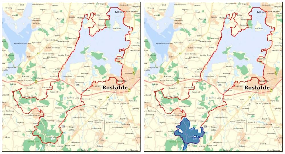 Nationalpark Skjoldungernes Land blev indviet i marts 2015, men har i lighed med de øvrige danske nationalparker ingen særlig fremtrædende natur- og biodiversitetsprioritet. Naturnationalpark Bidstrup Skovene (markeret med blåt til højre) kunne være et kerneområde, hvor naturen er i højsædet med vildskov uden tømmerproduktion og større planteædere til at holde tilgroning i ave året rundt