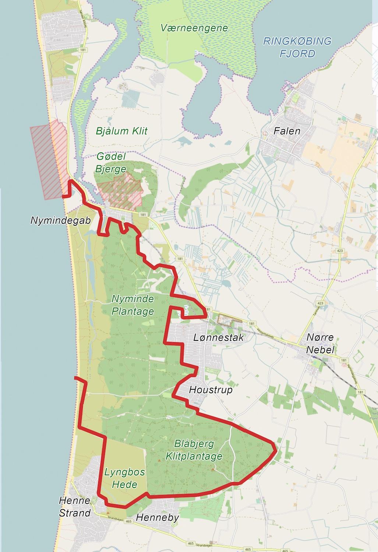 Naturnationalpark Blåbjerg & Nyminde kunne strække sig over ca. 2.900 hektar fra Lyngbos Hede og Blåbjerg Klitplantage i syd til Nyminde Plantage i nord.