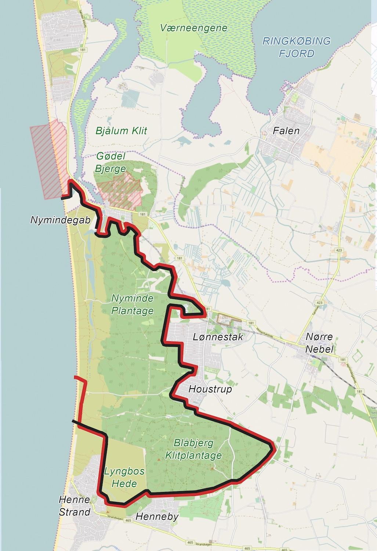 Forslag til en 29 kilometer lang hegnslinje omkring Naturnationalpark Blåbjerg