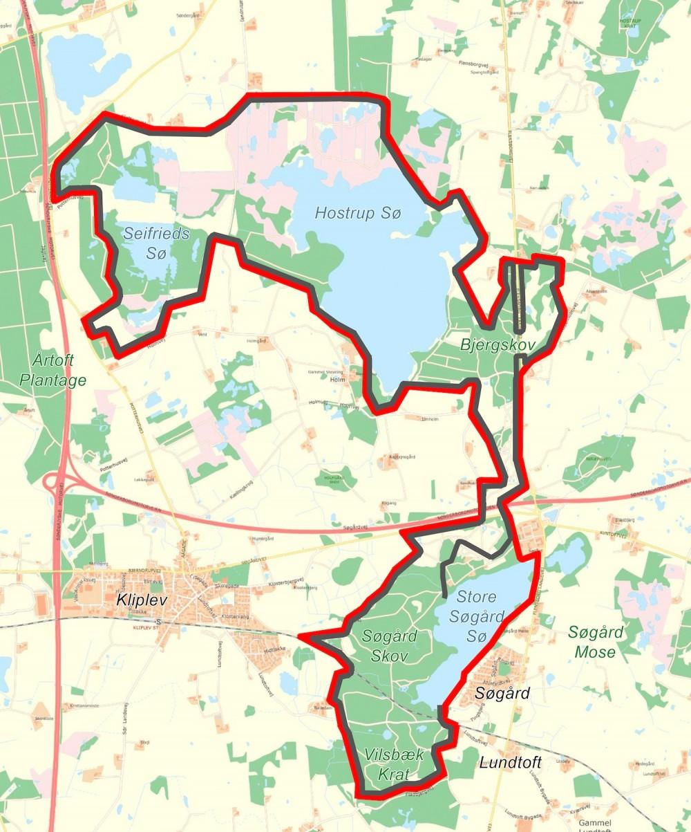 Forslag til hegnslinje omkring Naturnationalpark Bjergskov & Hostrup Sø: Her er hegnslinjen ca. 29, men skal Store Søgård Sø indhegnes, er det mest hensigtsmæssigt at hegne byen Søgård med, så adgangen til og udsigten over søen ikke forhindres, hvilket ville betyde en hegnslinje umiddelbart sydøst for byen i denne del af området. Hegnslinjen her inkluderer to faunabroer over Flensborg Landevej og Sønderborgmotorvejen, men førstnævnte kan erstattes af to færister, hvis hastighedsbegrænsningen nedsættes markant på denne strækning