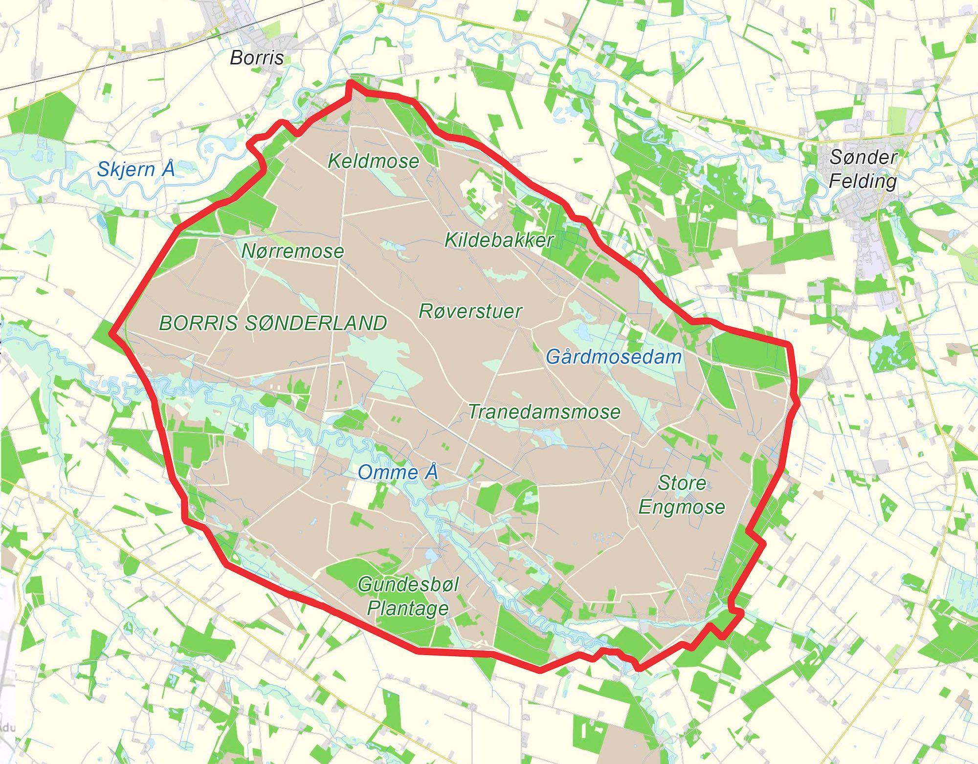 Naturnationalpark Borris – forslag til et 4.700 hektar naturreservat på Forsvarets arealer under Forsvarets fortsatte brug.