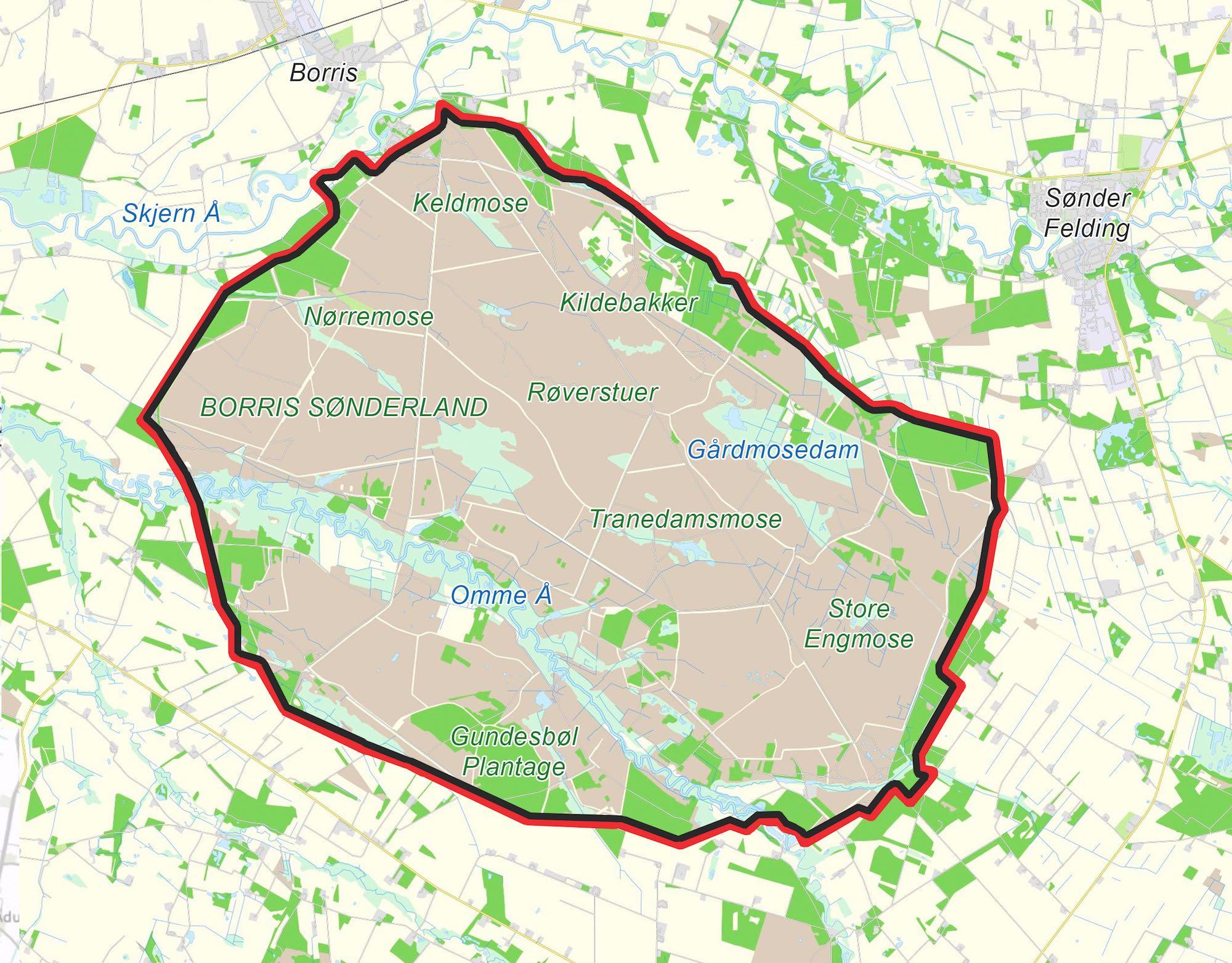Foreslået hegnslinje, der følger hele afgrænsningen af Naturnationalpark Borris.