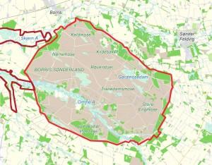 På kortet her kan man se, hvor oplagt det ville være at forbinde forslaget til Borris Naturnationalpark Borris med forslaget til Naturnationalpark Skjern Floddelta (hvis østligste område omkring Skjern Å fremgår ved den mørkerøde afgræsning). Sammenlagt kunne det blive et naturreservat på 87-90 kvadratkilometer – på næsten 100 procent statsejede naturarealer.