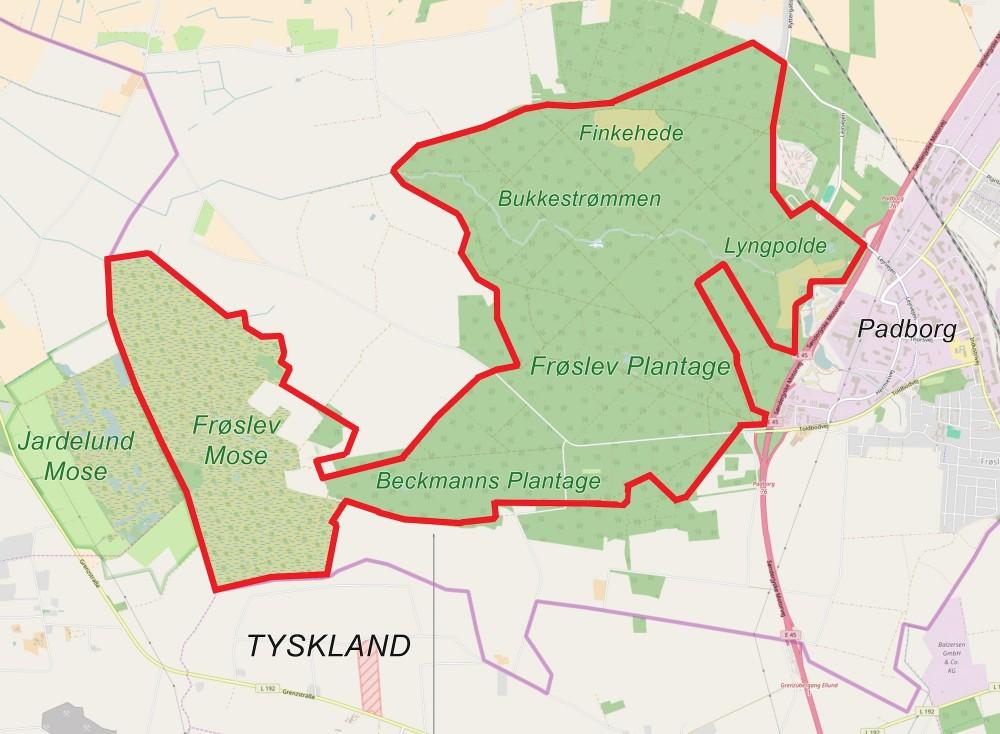 Naturnationalpark Frøslev Skov & Mose, ca. 1.300 hektar (13 km2) potentielt naturreservat på grænsen til Tyskland (kortet er bl.a. baseret på OpenStreetMap)