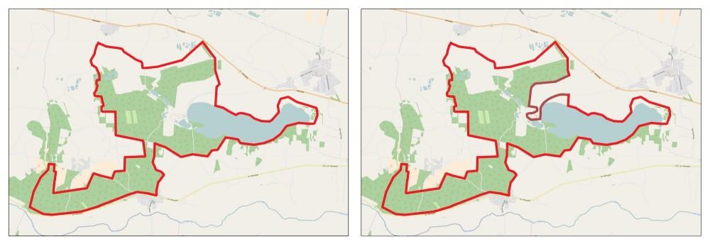 Til venstre den foreslåede afgrænsning, til højre et alternativ, hvor Fusingø Slot og markerne nord for slottet er fravalgt – i tilfælde af, at man skulle mene, at de ikke hører med