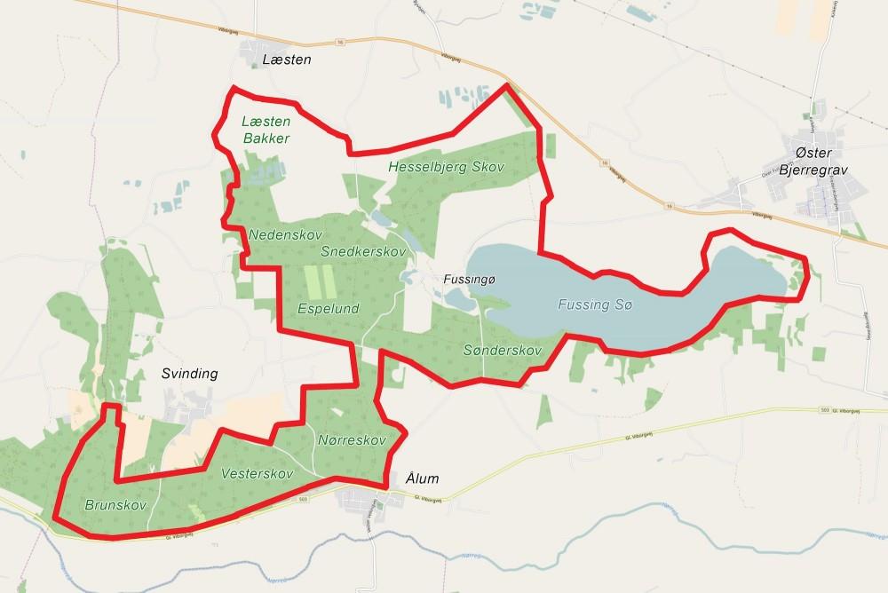 Kort over den foreslåede afgrænsning af Naturnationalpark Fussingø & Læsten Bakker –ca 1.300 hektar sammenhængende natur (i centrum ligger bl.a. Fusingø Slot, men det er også statsejet)