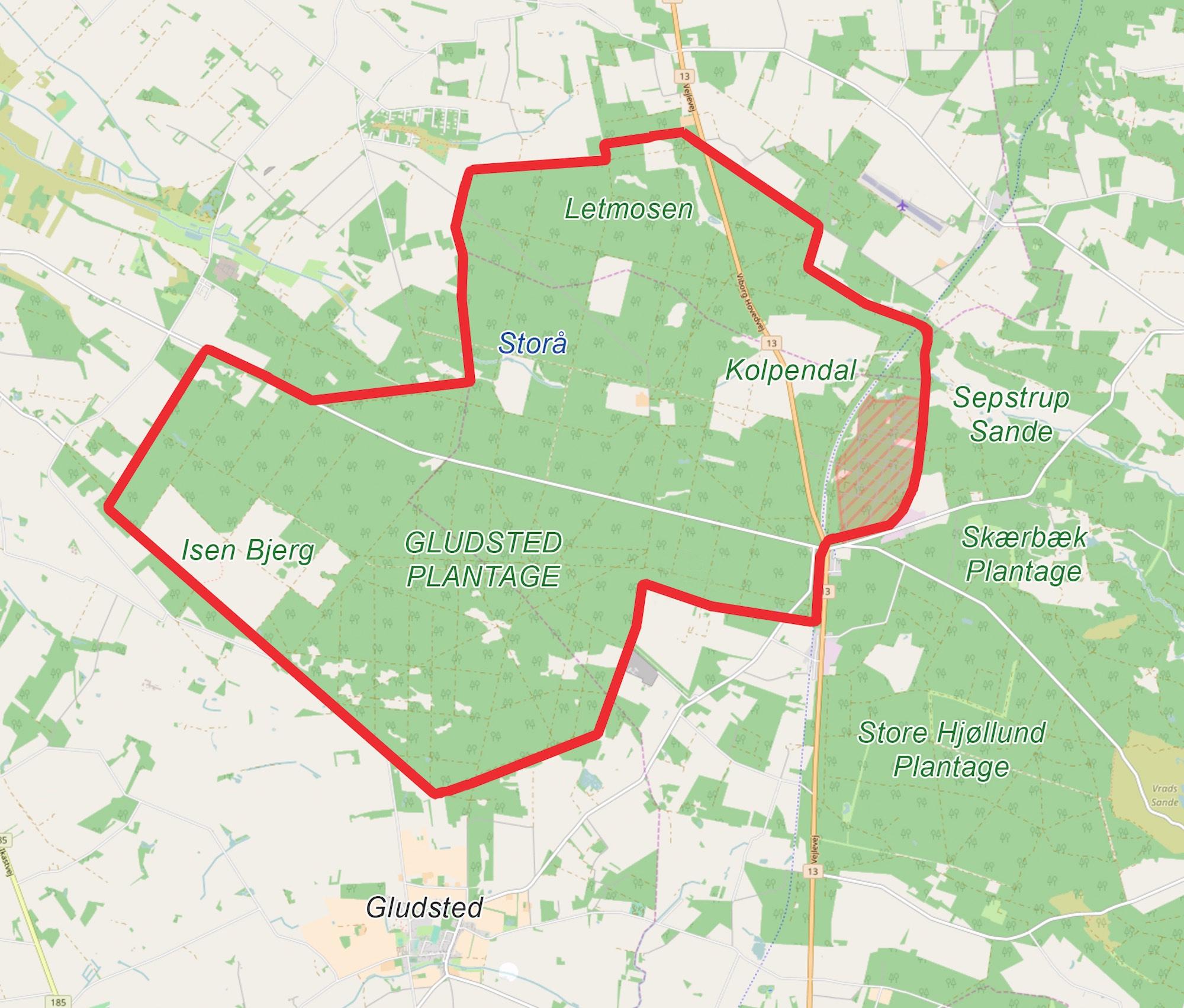Naturnationalpark Gludsted Skov & Isen Bjerg kunne blive et 3.400 hektar stort naturreservat, hvilke prioriteringen og viljen er til stede (kortet er baseret på OpenStreetMap).