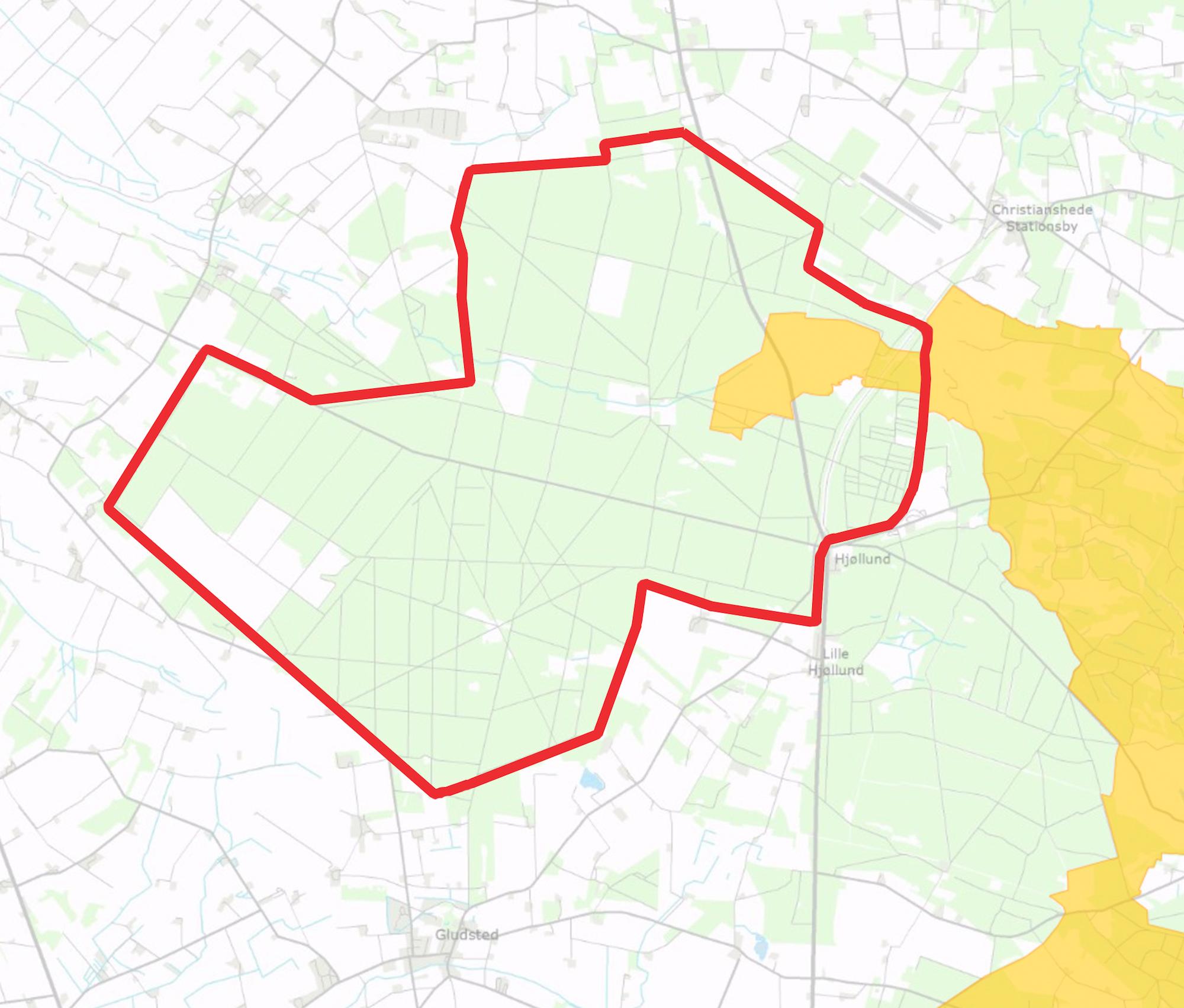 Forslaget til afgrænsningen af Naturnationalpark Gludsted Skov & Isen Bjerg overlapper lige akkurat en del af et Natura 2000-område (markeret med gult), hvor Danmark i forvejen er forpligtet til at gøre en særlig indsats for biodiversiteten.