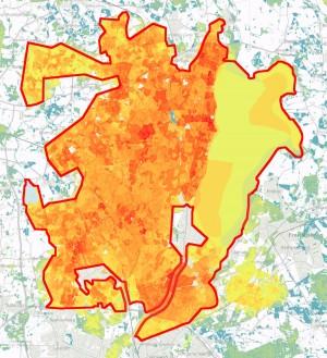 Bioscore viser koncentrationen af truede arter og truede arters potentielle levesteder (jo varmere farver, desto flere)