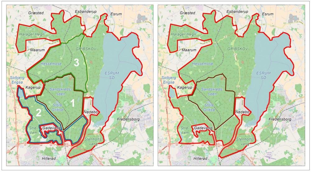 Inden for rammerne af forslaget til et vildthegn, der kan rumme elg og vildsvin (foruden de øvrige større planteædere) er det også muligt at tænke i tre faser. En del af hegningen kunne etableres (og en del af dyrene udsættes) i ét delområde af gangen, mens skovdriften gradvis afvikles i område efter område