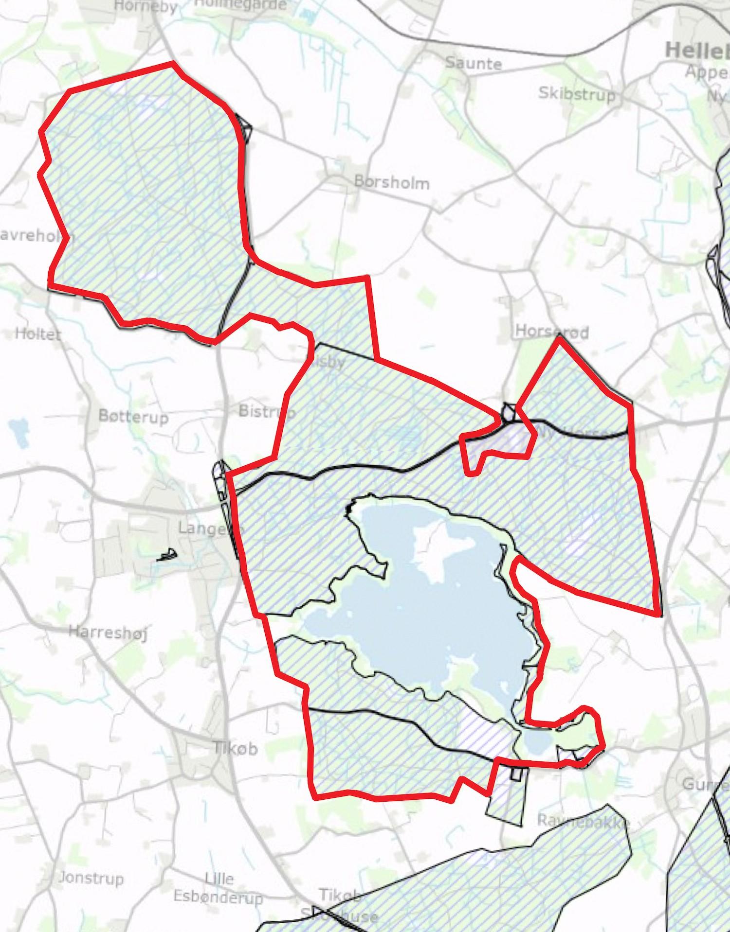 Staten ejer ca. 98 procent af det foreslåede areal (også Gurre Sø, selv om det ikke fremgår af Naturstyrelsens kort her)