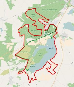 Den lysegrønne og mørkegrønne linje markerer muligheden for en første (eller en første og anden) fase i indhegningen af Naturnationalpark Hald Sø & Dollerup Bakker; en semipermeabel indhegning af henholdsvis , gerne forbundet af en faunabro over hovedvejen mellem Viborg og Herning. De to hegn ville samlet strække sig over ca. 11 kilometer.