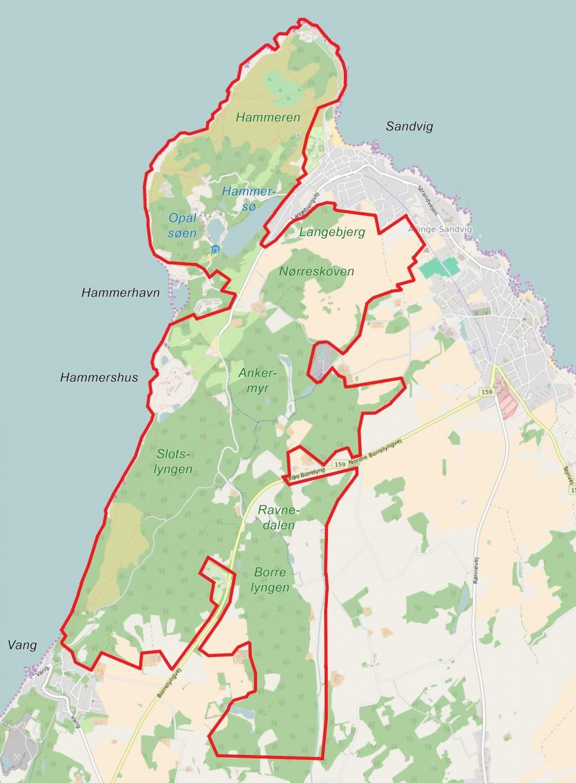 Forslag til afgrænsning af Naturnationalpark Hammeren & Slotslyngen, ca. 10 kvadratkilometer (kort baseret på OpenStreetMap og Miljø- og Fødevareministeriets Digitale Naurkort)