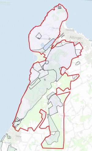 Statsejede arealer (skraverede) inden og uden for forslaget til Naturnationalpark Hammeren & Slotslyngen