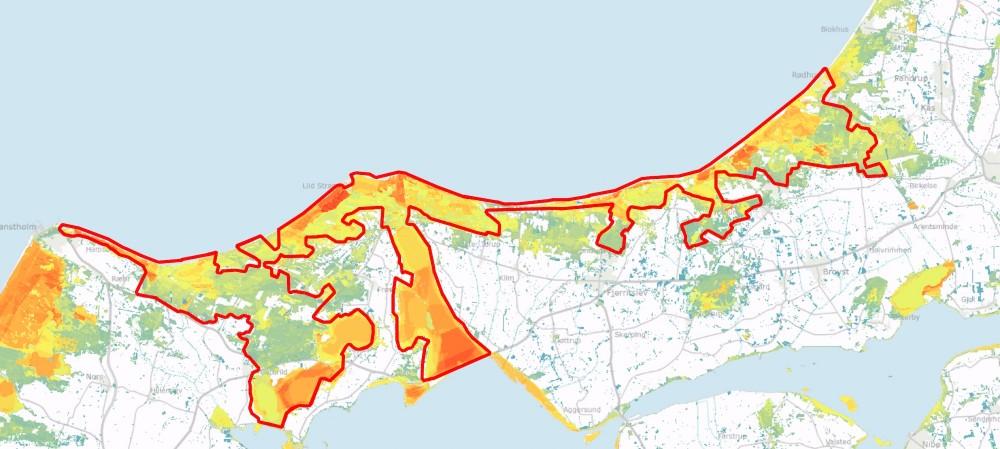 Store arealer har stadig høj bioscore (dvs. stor koncentration af truede arter og potentielle levesteder for truede arter) inden for den foreslåede afgrænsning –jo varmere farver, desto højere koncentration