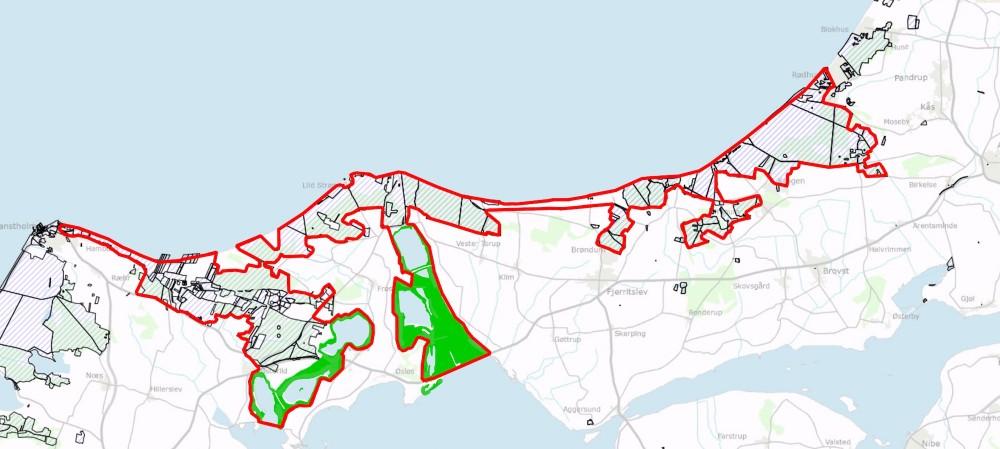 Ejerforhold: De skraverede arealer er statejede (ca. 70%) og de grønne arealer er ejet af Aage V. Jensen Naturfond (ca. 20%) – de øvrige arealer er ejet af forskellige private lodsejere