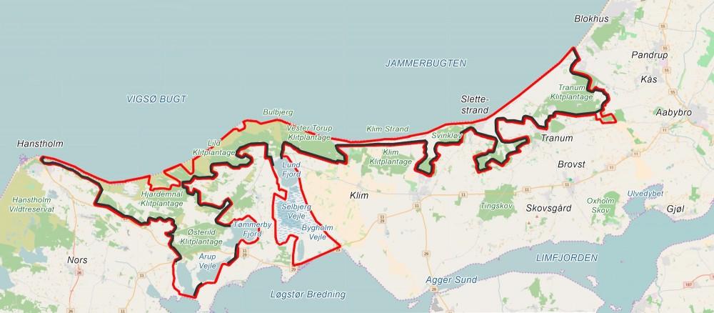 Forslag til en hegnslinje, der udnytter de større vådområder som uhegnede 'grænser og dermed strækker sig over 148 kilometer