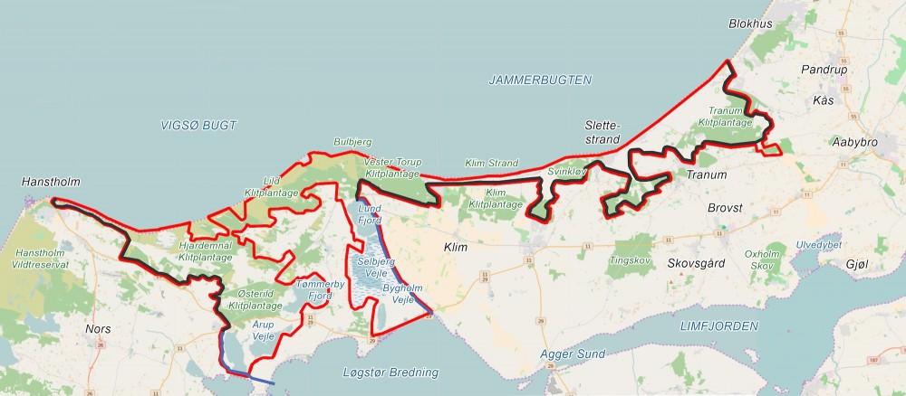 Alternativ hegnslinje, der er er ca. 18 kilometer kortere og dermed i alt ca. 130 kilometer, selv om Vejlerne nu alle ligger bag hegn (samt en større del af området, som ikke hører til selve naturnationalparken)